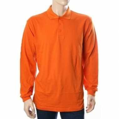 Oranje polo shirts met lange mouwen