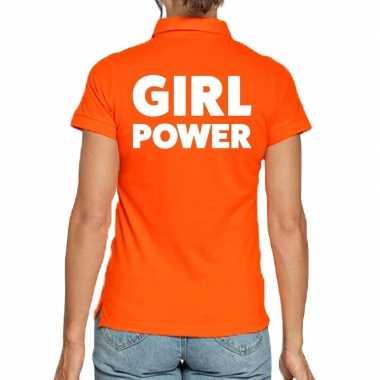 Oranje poloshirt girl power voor dames