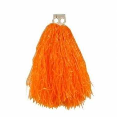 Oranje pompons 33 cm
