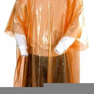 Oranje poncho met capuchon