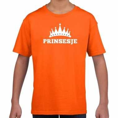 Oranje prinsesje met kroon t-shirt meisjes