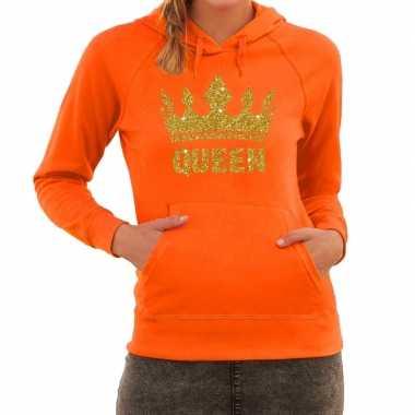 Oranje queen gouden glitter kroon hoodie / hooded sweater dames