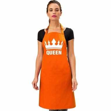 Oranje queen keukenschort/ bbq schort met kroon heren