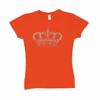 Oranje t-shirt met kroon voor dames