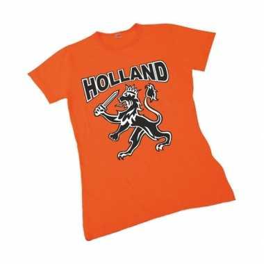 Oranje t-shirt met leeuw voor dames