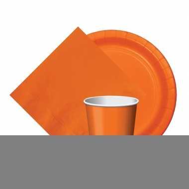 Oranje tafeldecoratie set 8 bordjes/8 bekertjes/20 servetten