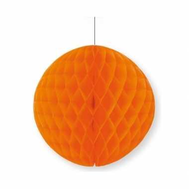 Oranje thema papieren bal 10 cm