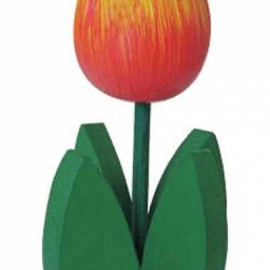 Oranje tulp met blad 14 cm