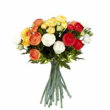 Oranje/wit ranunculus/ranonkel kunstbloemen boeket 35 cm