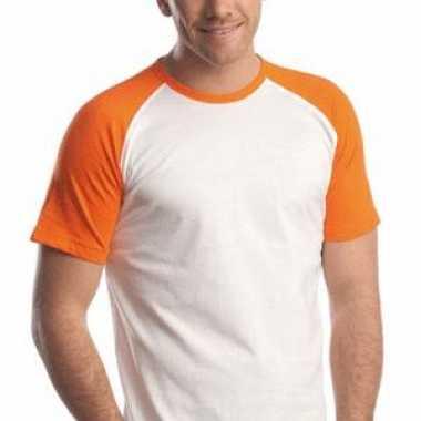 Oranje/witte t-hirts korte mouw