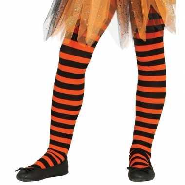 Oranje/zwart gestreepte kinder maillot 5-9 jaar