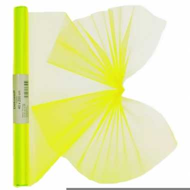 Organza tule rol neon geel 40 x 200 cm