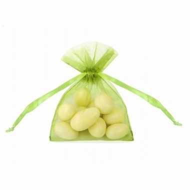 Organza zakjes in groene kleur 10 cm