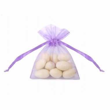 Organza zakjes in paarse kleur 10 cm