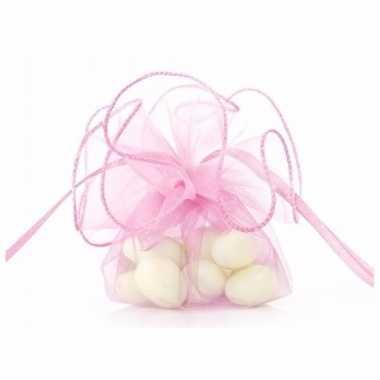 Organza zakjes in roze kleur 26 cm