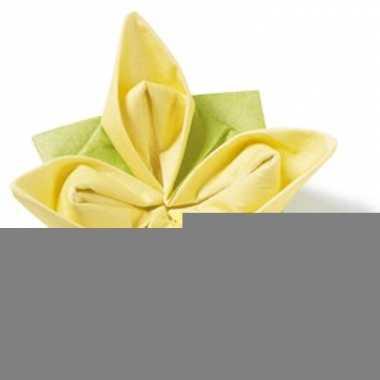 Origami servet 12 stuks geel-groen