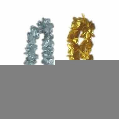 Oud en nieuw accessoires pakket bloemenkrans zilver/goud 12x