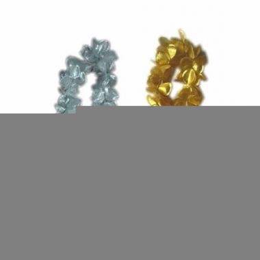 Oud en nieuw accessoires pakket bloemenkrans zilver/goud 6x