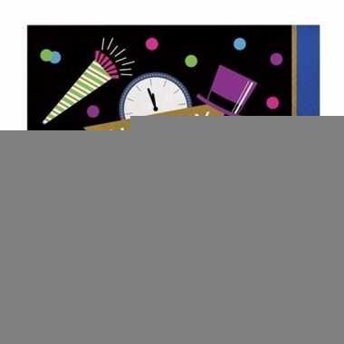 Oud en nieuw servetten zwart/blauw happy new year 16 stuks