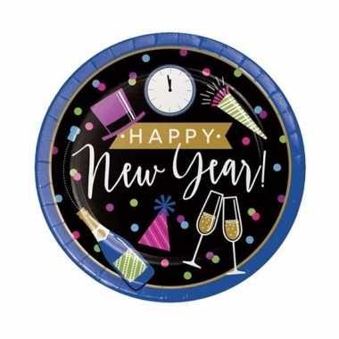 Oud en nieuw wegwerp borden zwart/blauw happy new year 8 stuks