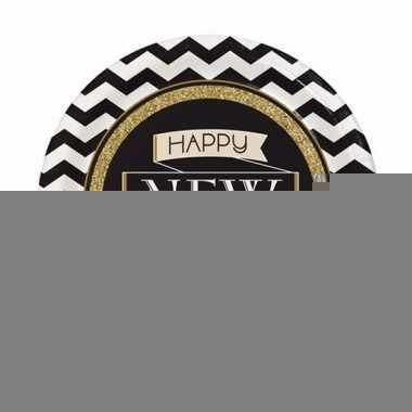 Oud en nieuw wegwerp borden zwart/goud happy new year 8 stuks