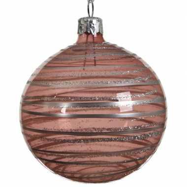 Oud roze kerstversiering transparante kerstballen van glas 8 cm