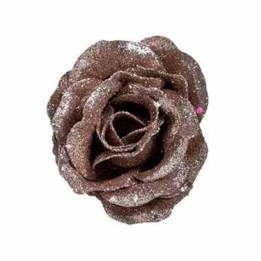 Oud roze roos met glitters op clip 7 cm - kerstversiering