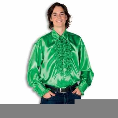 Overhemd groen met rouches heren