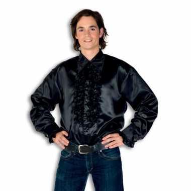 Overhemd zwart met rouches heren