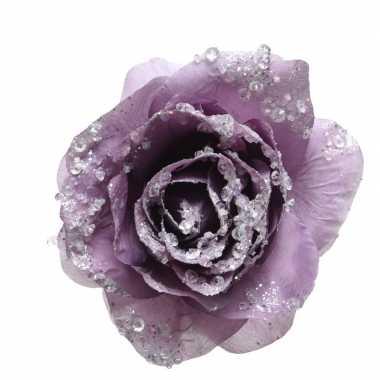 Paarse decoratie bloem 14 cm op clip