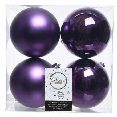Paarse kerstversiering kerstballen kunststof 10 cm