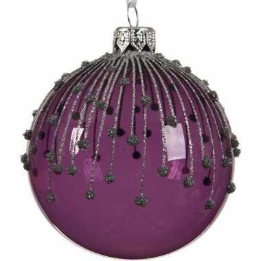 Paarse kerstversiering kerstballen met glitterlijnen 8cm glas