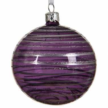 Paarse kerstversiering transparante kerstballen van glas 8 cm