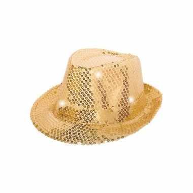 Pailletten trilby hoed goud led light