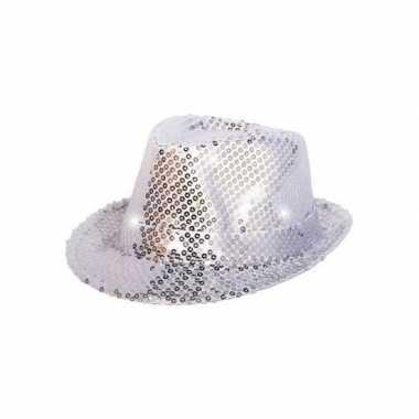 Pailletten trilby hoed zilver led light
