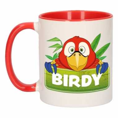 Papegaai theebeker rood / wit birdy 300 ml
