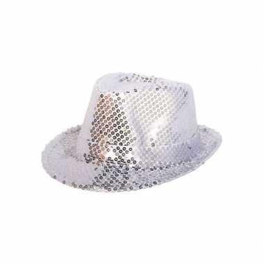 Party hoedje met zilveren pailletten