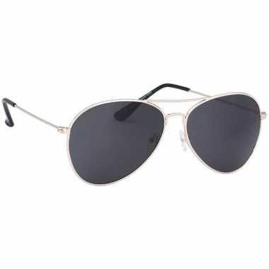 Pilotenbril lichtgoud met donkere glazen voor volwassenen