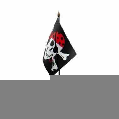 Piratenvlag tafelvlaggetje op voetje one eyed jack