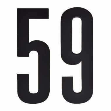 Plakcijfers 59 zwart 10 cm