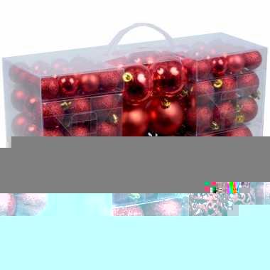 Plastic kerstballen rood 100 x