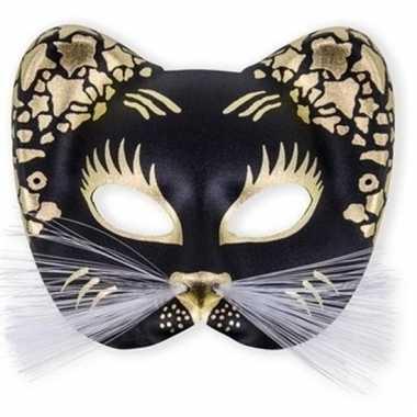 Plastic zwarte poezen oogmasker trend