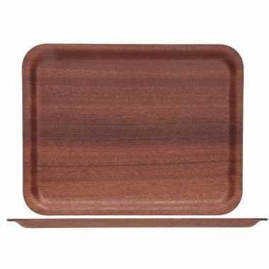 Plat dienblad van hout 36 x 28 cm