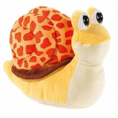 Pluche knuffel slak geel/oranje 24 cm