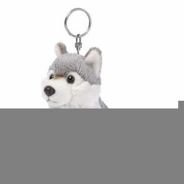 Pluche knuffel wolfje sleutelhanger