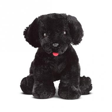 Pluche knuffel zwarte labrador 18 cm