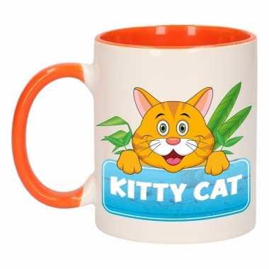 Poezen theebeker oranje / wit kitty cat 300 ml