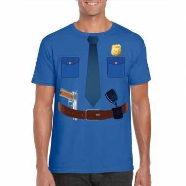 Politie uniform kostuum t-shirt blauw voor heren