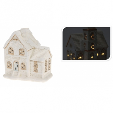 Porseleinen huisje met led licht type 2
