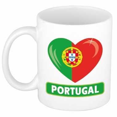 Portugese vlag hartje theebeker 300 ml trend